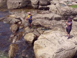 Don't turn your back to the water when rock fishing