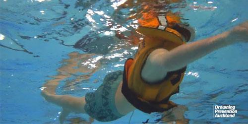 Survival sidestroke wearing a lifejacket